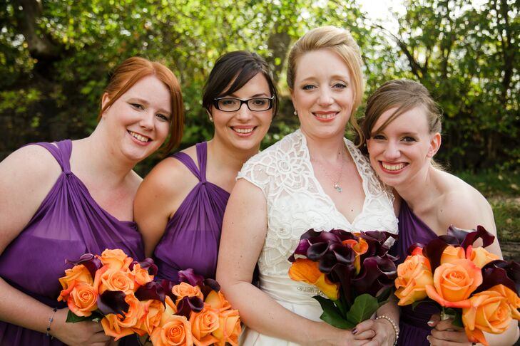 Stephanie B. had her bridal party wear her favorite color for the dresses: purple!