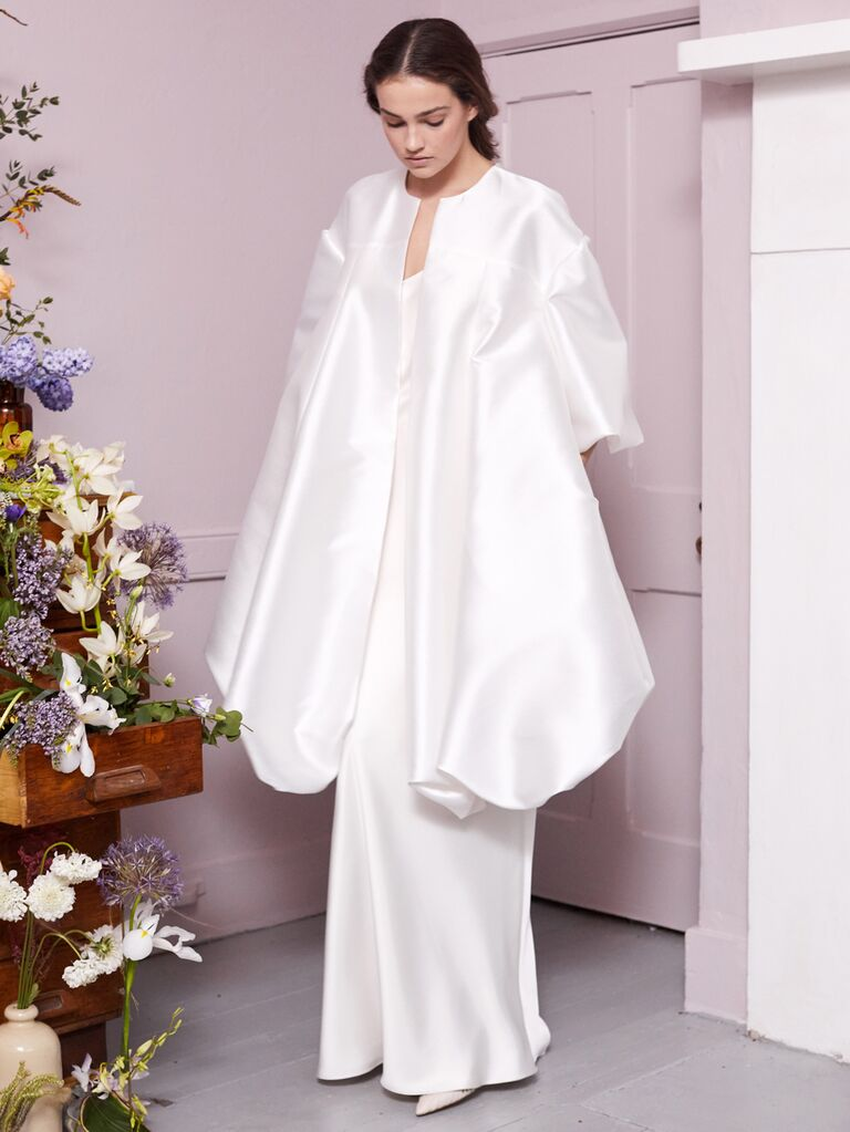 Halfpenny London 2020 Bridal Collection satin wedding dress with matching structured swing coat