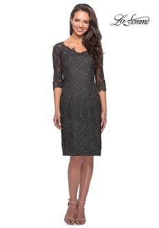 La Femme Evening 25525 Gray Mother Of The Bride Dress