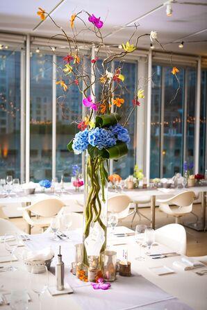Tall, Whimsical Blue Hydrangea Bright Centerpiece