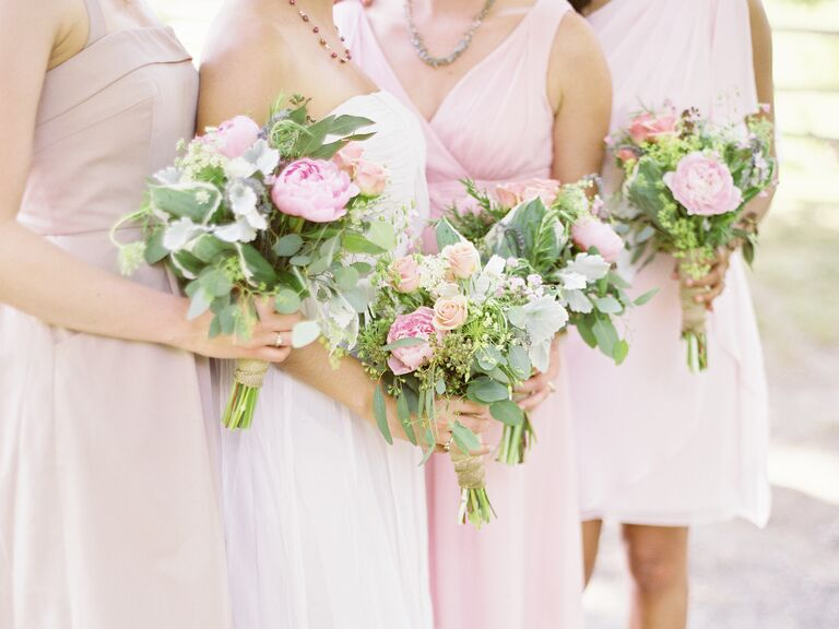 Pink bridesmaids bouquets