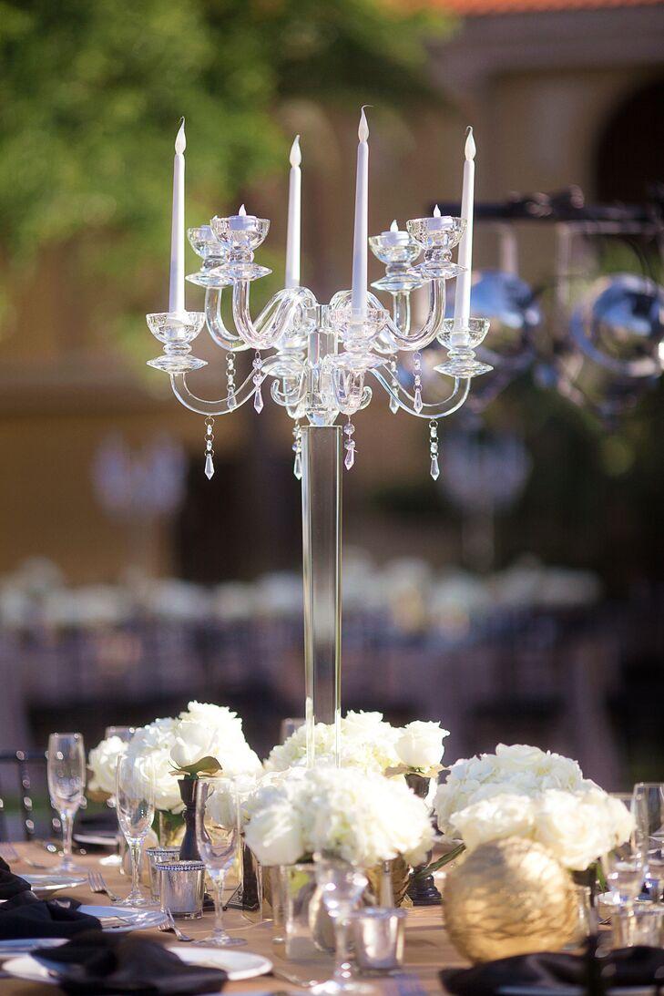 Sarasota, Florida Clear Glass Candelabra Centerpiece