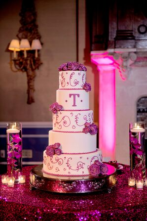 Five-Tier Wedding Cake Decorated with Fuchsia Roses
