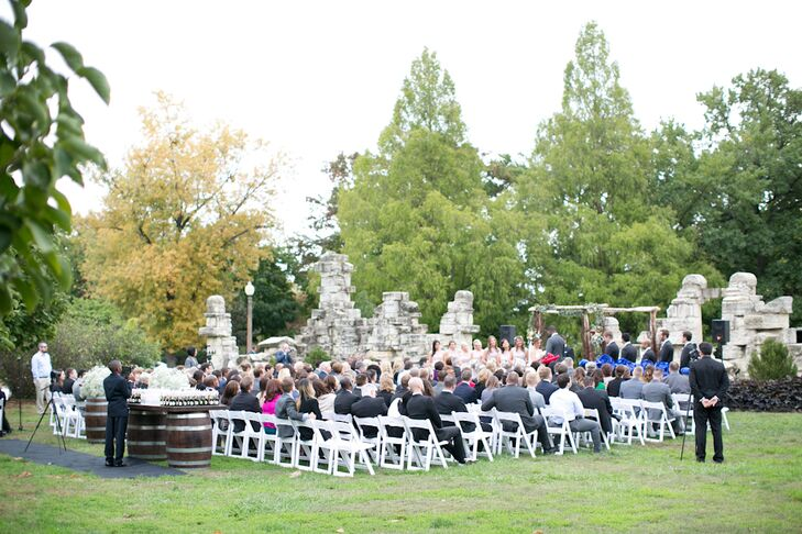 """Jessica and Bassey always envisioned an outdoor location when they thought about their wedding, and the Ruins in Tower Grove Park in St. Louis, Missouri, was perfect. """"When we saw it, we knew it was perfect for the romantic and bohemian look we wanted for our wedding day,"""" Jessica says of the reclaimed limestone structures stacked to look like ruins."""