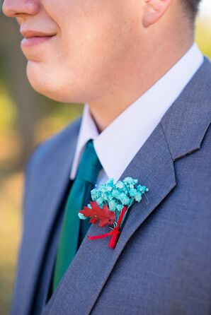 Bright Turquoise and Red Floral Boutonniere