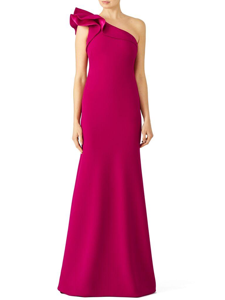 fuschia ruffle gown