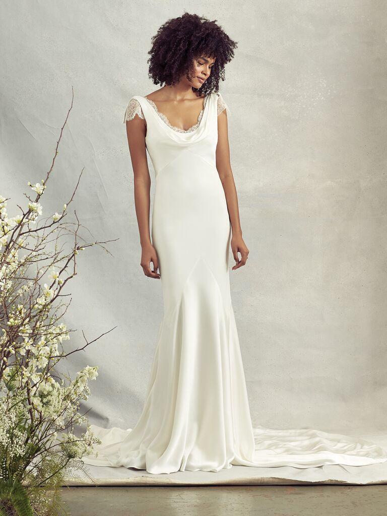 Savannah Miller Spring 2020 Bridal Collection sheath wedding dress with lace bodice underlay
