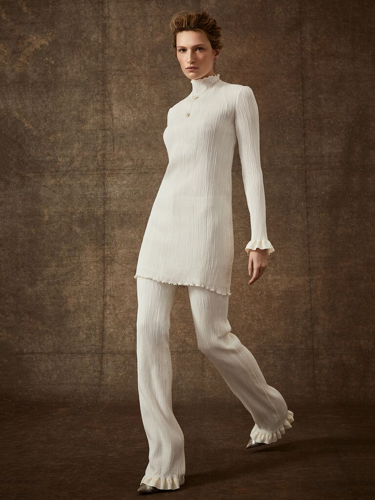 Danielle Frankel Spring 2020 Bridal Collection bridal separates ribbed wide pants and tunic with turtleneck