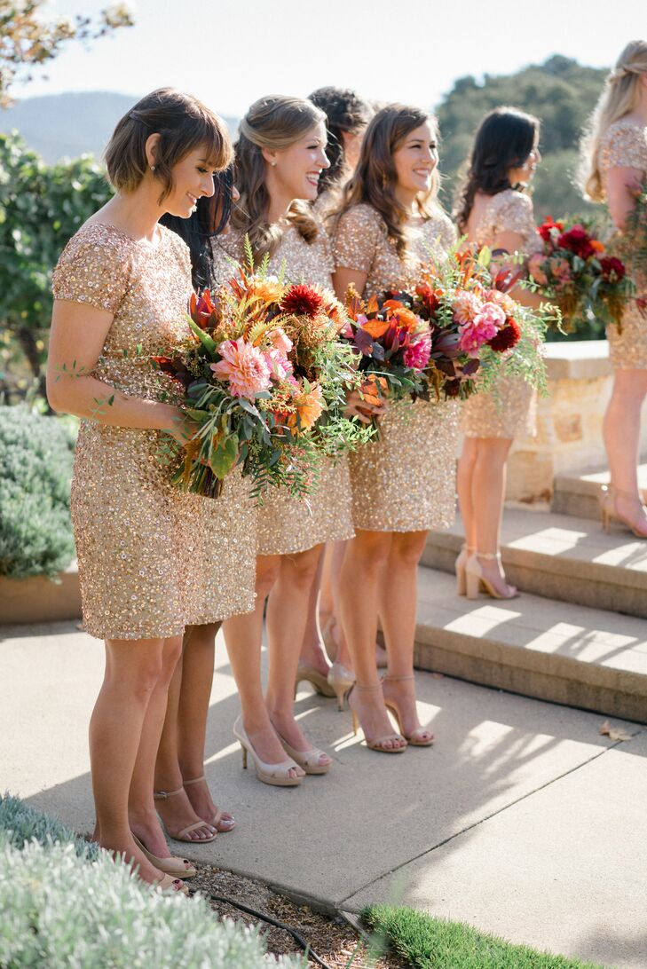 Glam Gold Sequin Bridesmaid Dresses