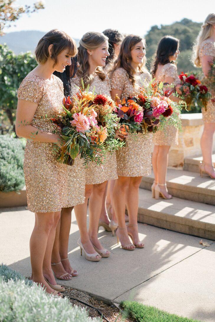 Glam Gold Sequin Bridesmaid Dresses