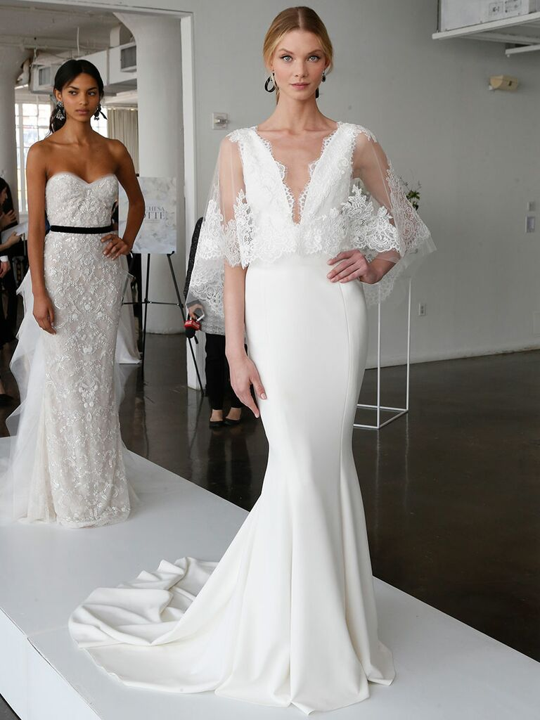 62f139120565 Marchesa Spring 2018 fit-and-flare wedding gown with plunging neckline and  delicate lace