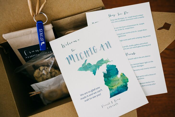 Welcome Bags with Personalized Michigan Notes