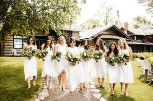 Rustic Bridesmaids with Midi-Length White Dresses and Greenery Bouquets