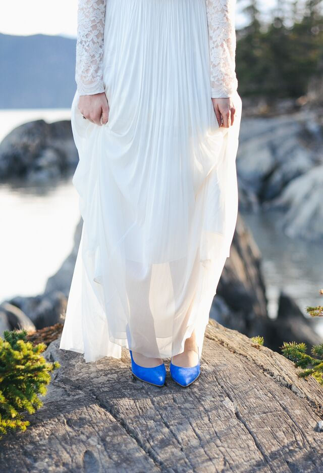 """""""I did opt for the blue suede heels. I will definitely wear those again, since they are flirty and fun,"""" Grace says."""