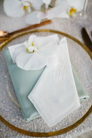 Monogramed White and Mint Linens
