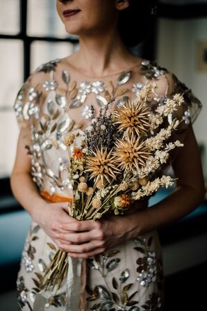 Eclectic Sequined Wedding Dress and Dried Flower Bouquet