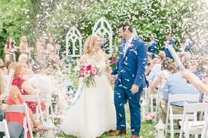 Glamorous Bride and Groom with Confetti Recessional