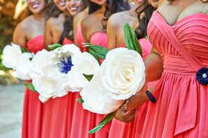 Large Ivory Fabric Rose Bouquets