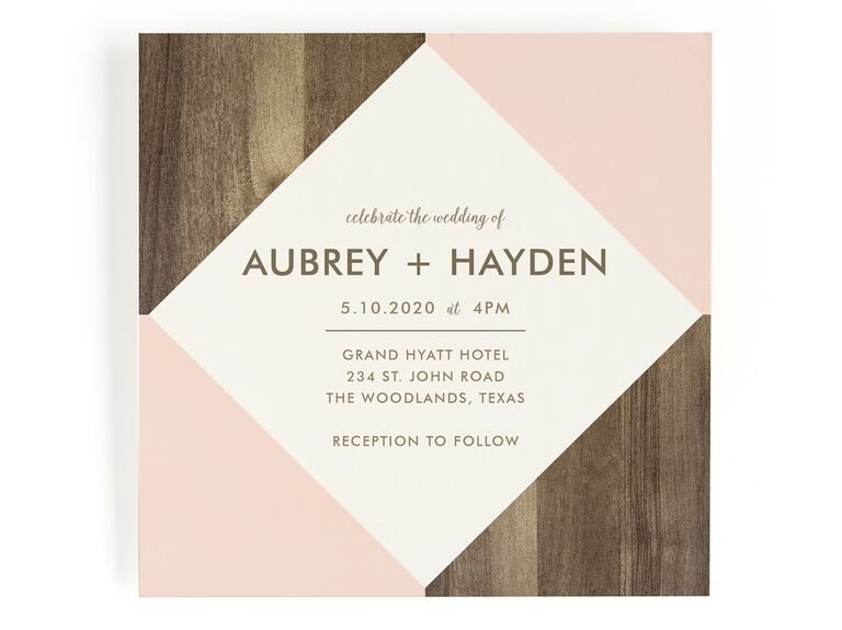 Modern rustic wedding invitation