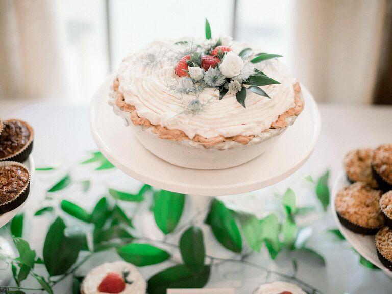 Elegant wedding pie display