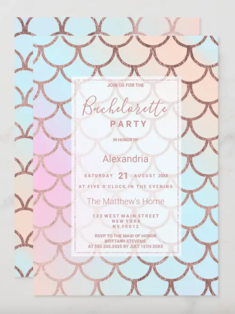 mermaid bachelorette party invitations colorful scales