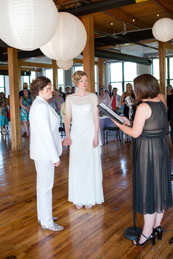 The couple wrote their own vows for their modern ceremony.