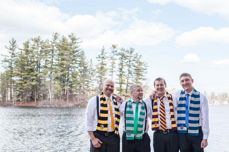 Jordan and his groomsmen added a fun touch to their look with black suspenders, skinny ties in Hogwarts colors and matching scarves.