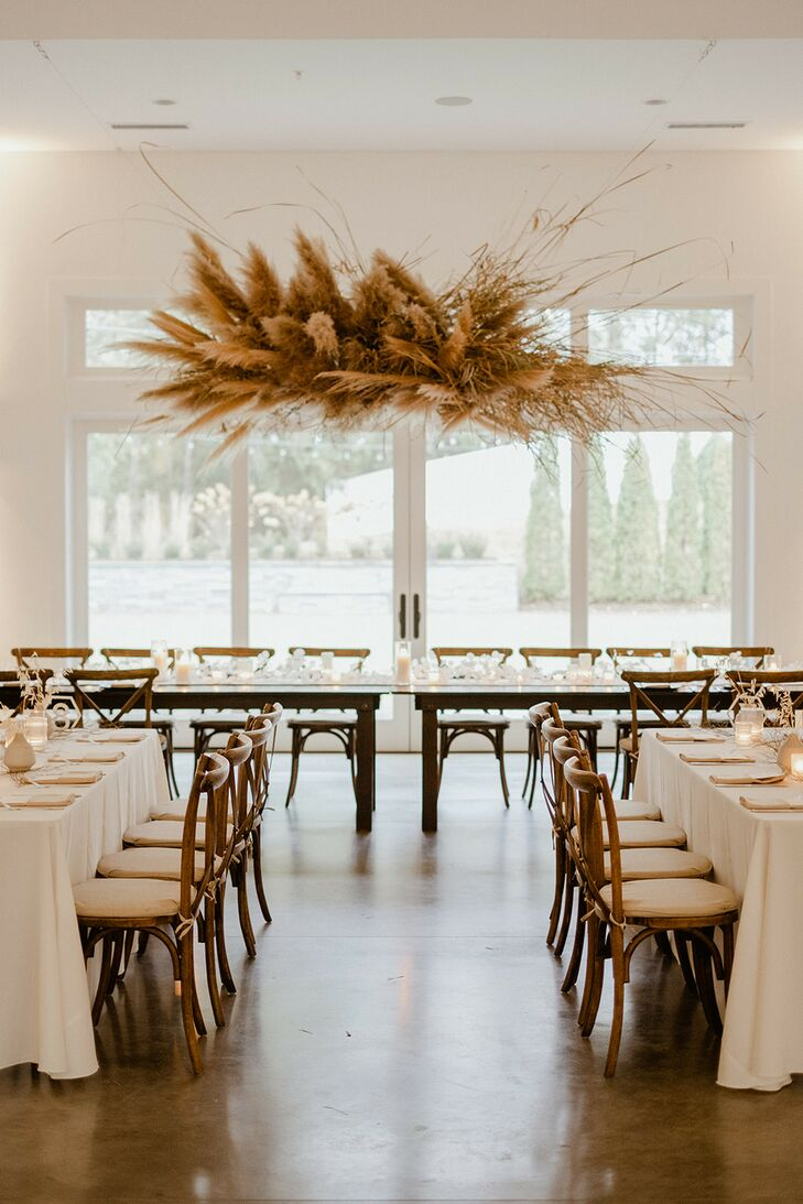 Casual, Bohemian Loft Ceremony with Hanging Pampas Grass