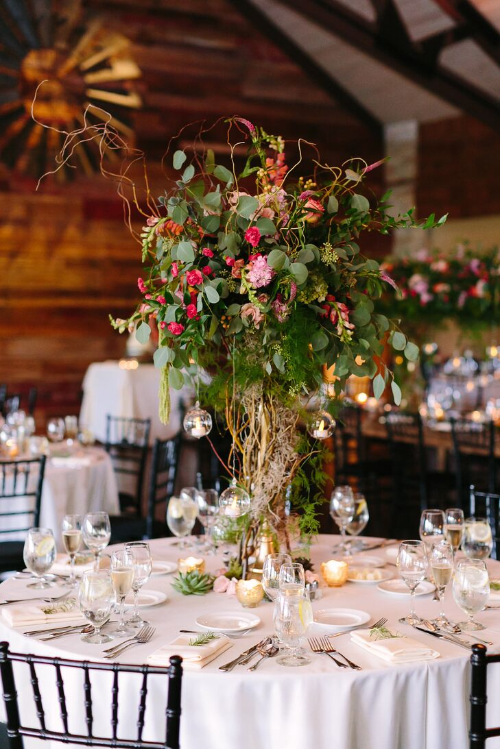 Tall Curly Willow, Greenery and Pink Floral Centerpieces