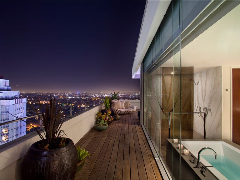 Outdoor patio of the Andaz Penthouse Suite in Los Angeles, California