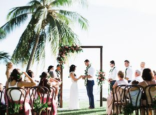 Nina Mrcela and Ben Smith pulled of a tropical waterfront fete laced with hints of feminine bohemian flair for wedding in Olowalu, Hawaii.<br><br>Ocea
