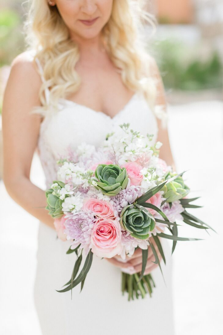 Rose, Stock and Succulent Bouquet