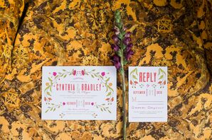Colorful Floral Invitations to Outdoor Wedding