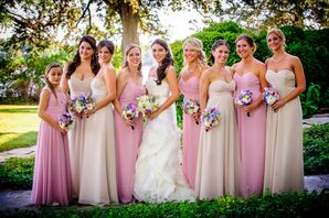 Vera Wang Gown, Pink and Taupe Bridesmaid Dresses