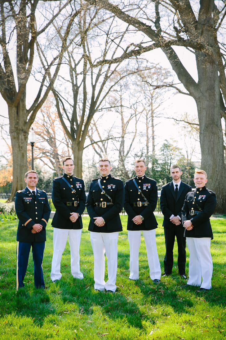 """""""The groom and groomsmen were all military, ranging from the Marines to Army, so they all wore their military dress uniforms,"""" the couple says. """"Nothing looks better then a man in uniform."""""""
