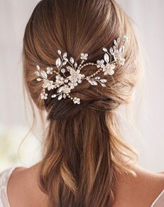 Dareth Colburn Flora Pearl & Crystal Hair Clip (TC-2431) Gold, Silver Pins, Combs + Clip
