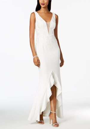 Adrianna Papell Wedding Dresses Adrianna Papell Embroidered Plunge Ruffle Gown A-Line Wedding Dress