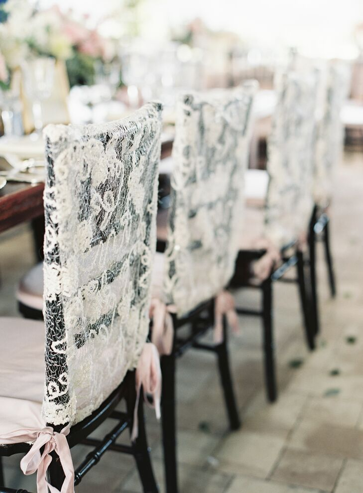 Lace Chiavari Chair Covers with Pink Ribbon