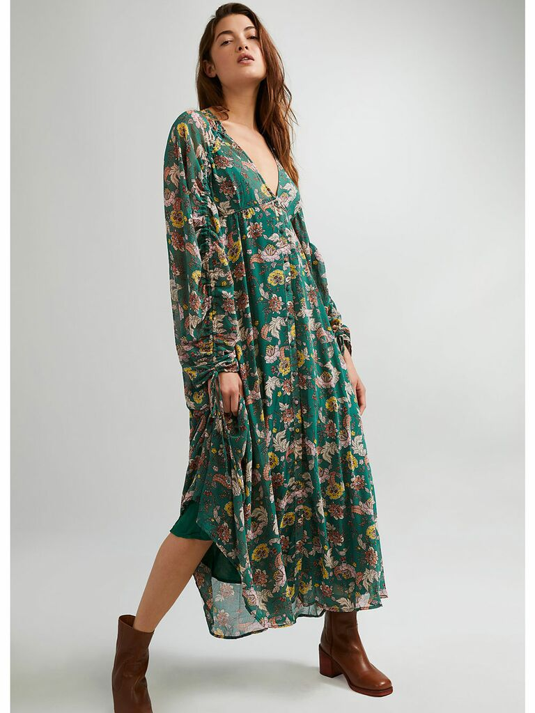 Long sleeve maxi cottagecore dress with earthy green and yellow floral print