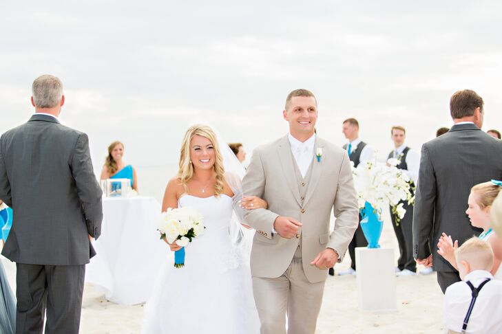 """We wanted to have a beach ceremony and an indoor reception with panoramic views of the ocean,"" Amanda says. ""My number one concern during the venue selection process was the back up ceremony location in the event of adverse weather.  Sea Crest was the only location with a back up ceremony location equally as beautiful as the beach ceremony."""
