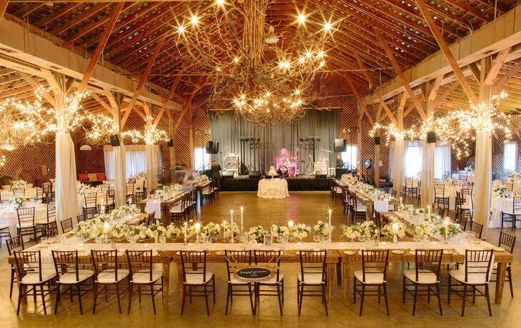 """Even though our reception was in a barn, we still wantedrnmore of a classic look rather than rustic,"" says Casey."