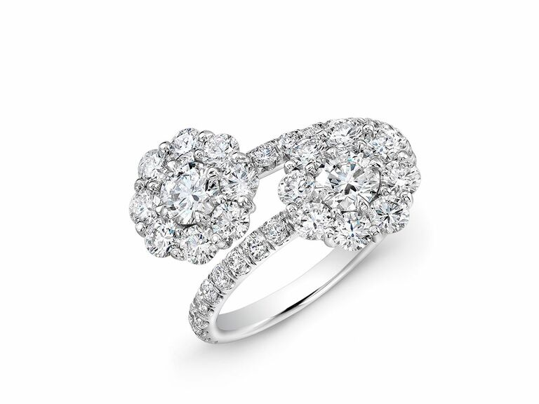 diamond two stone ring with floral halos in white gold