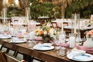 Reception Decor With Wood Farm Tables, Mauve Table Runner and Taper Candles