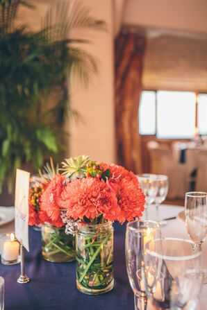 Coral Chrysanthemum and Succulent Centerpieces