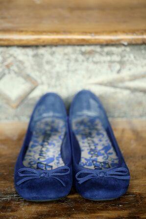 Blue Bridal Flats