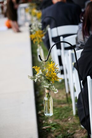 Simple Yellow and White Aisle Decor