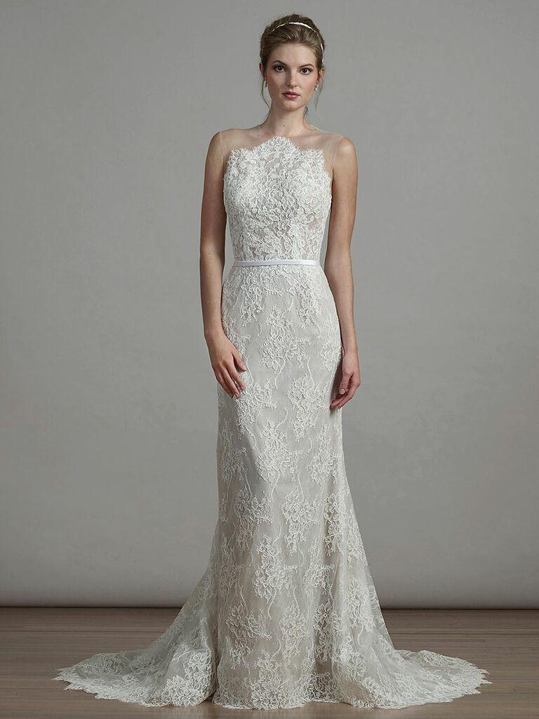 f5197d0fa8eb Liancarlo Spring 2018 lace column wedding dress with satin band