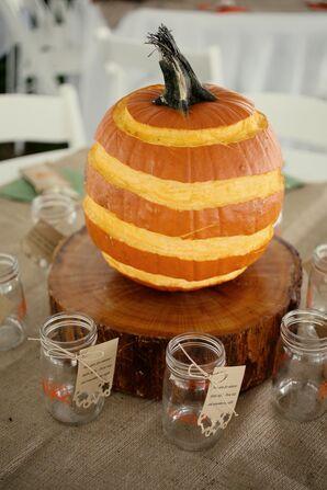 DIY Carved Pumpkin Reception Centerpieces