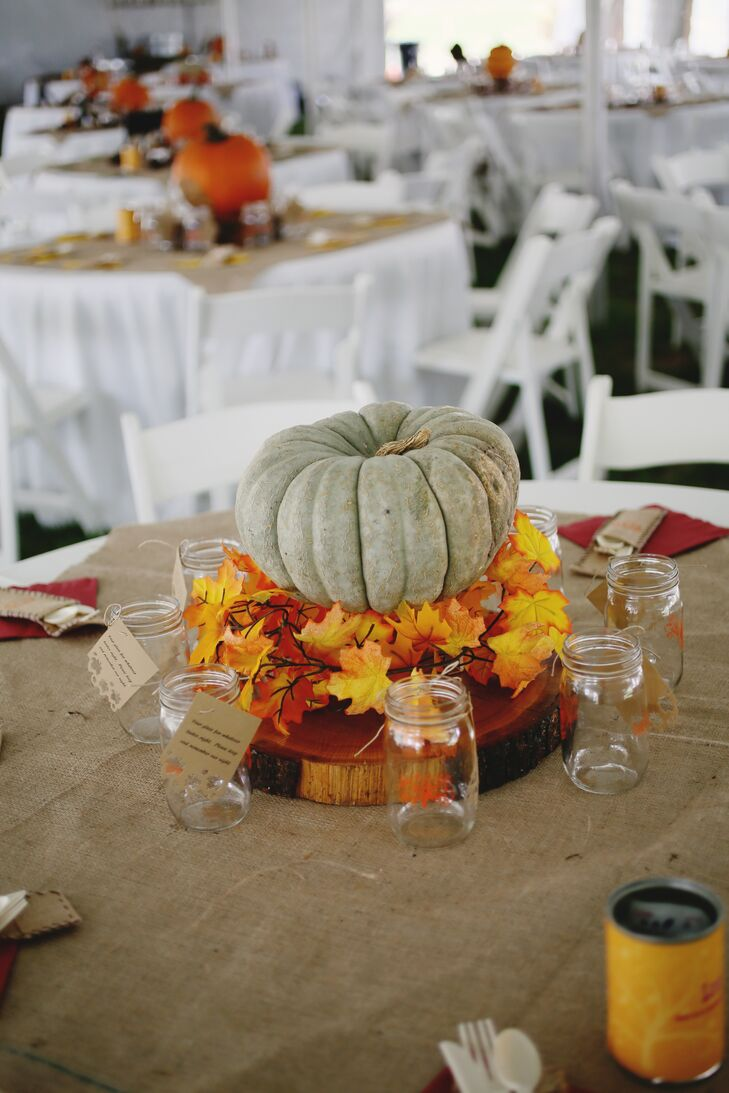 Pumpkin and Fall Leaves Centerpieces