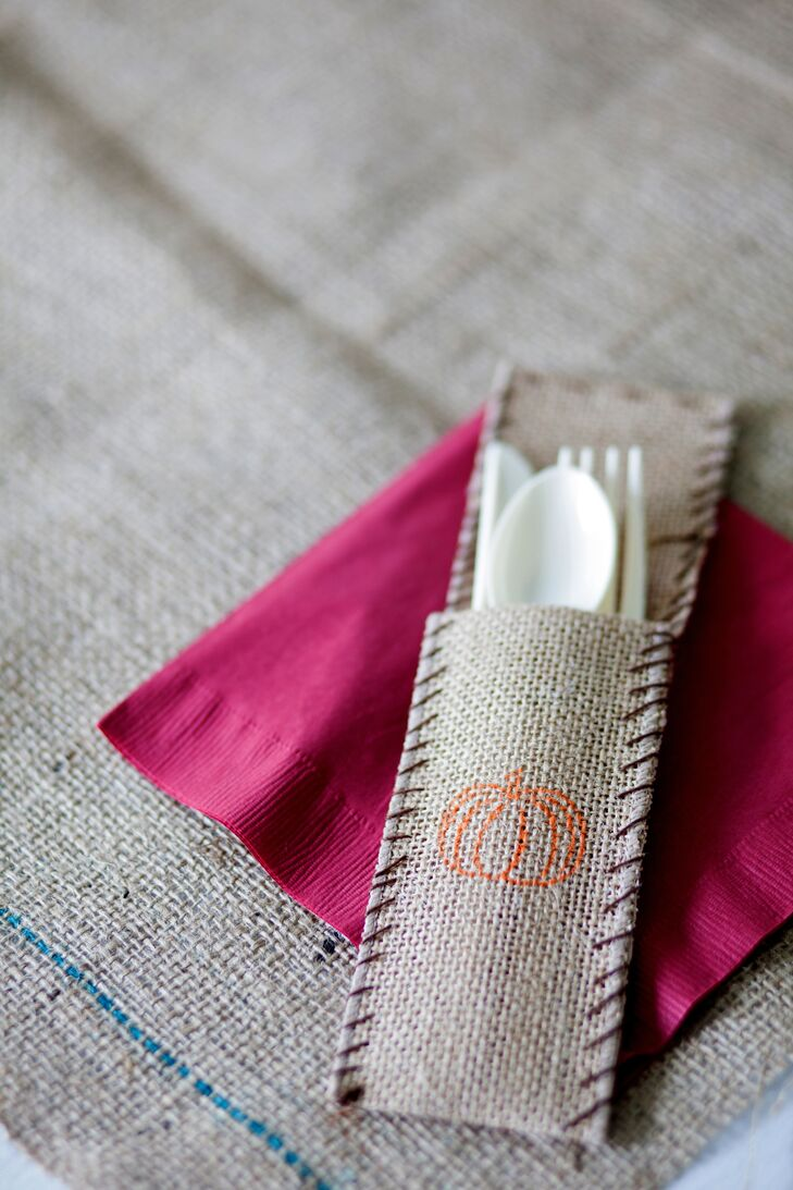 Burlap Flatware Holder